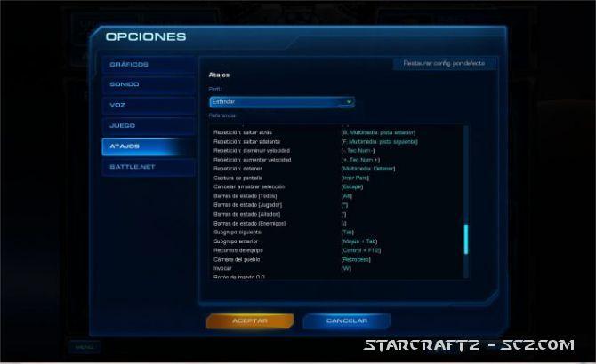 Atajos de teclado de StarCraft 2